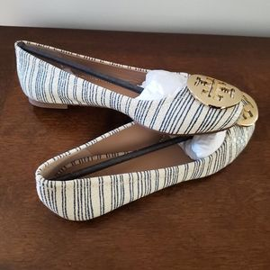 Tory Burch blue stripe flats